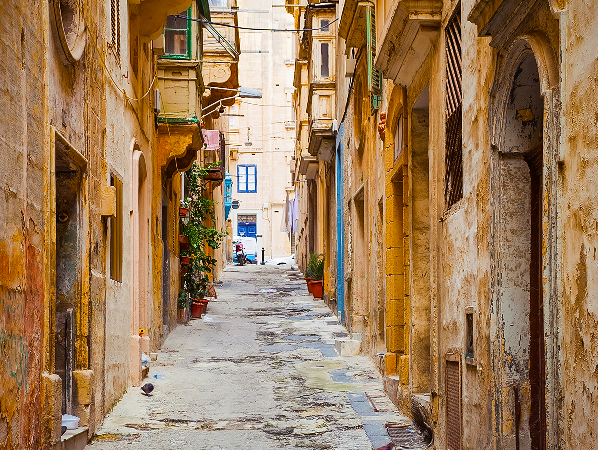 Narrow old street of Valletta