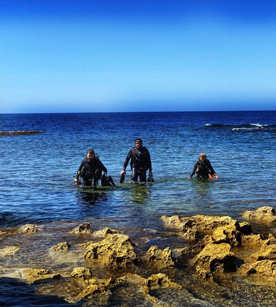 Divers on the shore