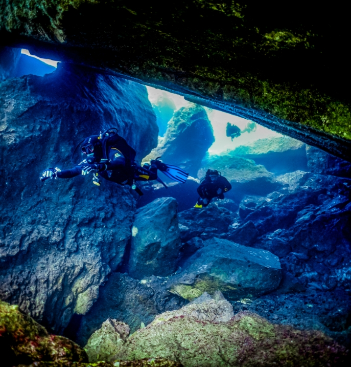 Diving under a rock