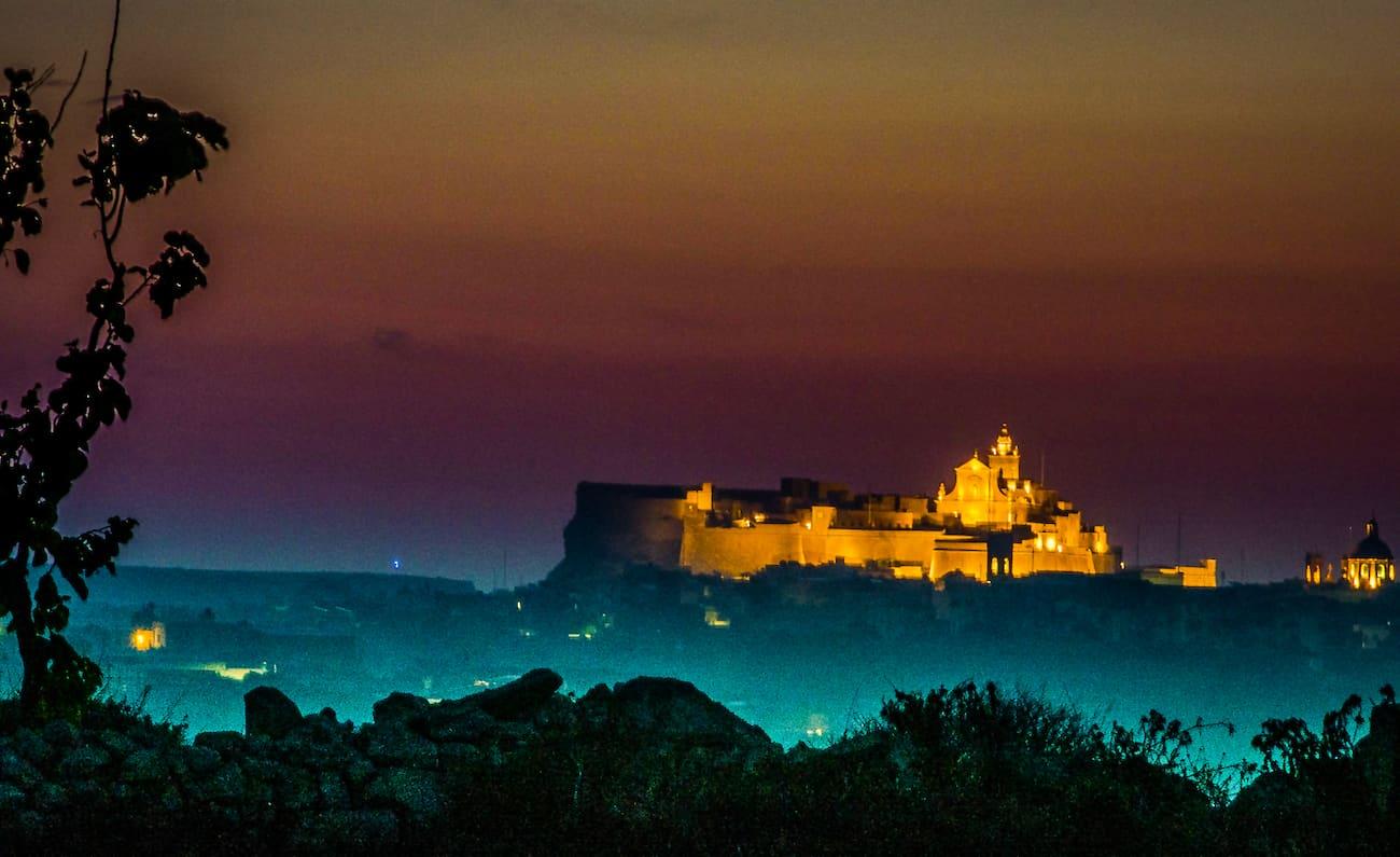 Citadel at Night in Gozo